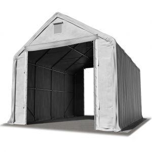 Intent24 Hall hangar de stockage 5 x 8 m / hauteur de côté 3m tente industrielle avec bâche PVC ignifugé 720g/m² gris.FR