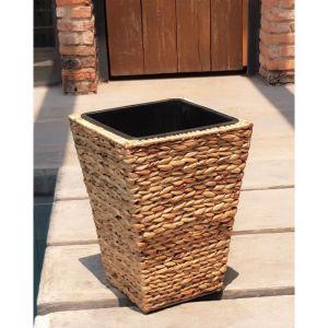 Pot de fleur carré en jacint d'eau tressée 30 x 30 x 40 cm Marron naturel clair