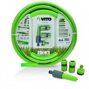 Vito Garden Kit d'arrosage PVC renforcé 25m diam 19mm 4 accessoires