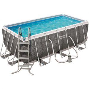 Bestway Piscine réctangulaire Steel Frame Pool - 412 x 201 x 122 cm - Tressé