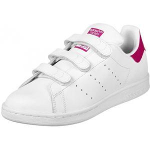 Adidas Stan Smith CF, Baskets Mixte Enfant, Blanc (Footwear White/Footwear White/Bold Pink 0), 37 1/3 EU