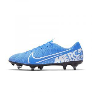 Nike Chaussure de football à crampons pour terrain gras Mercurial Vapor 13 Academy SG-PRO Anti-Clog Traction - Bleu - Taille 45 - Unisex