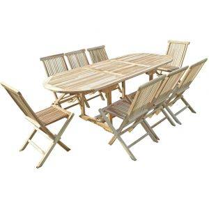C&L Jardin Mahui - Ensemble salon de jardin en teck 8 chaises