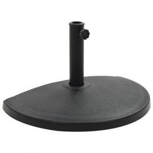 VidaXL Socle demi-rond de parasol Polyrésine 15 kg Noir - Accessoires pour parasols et voiles d'ombrage - Supports pour parasols   Noir   Noir