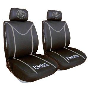 Psg Jeu de 2 housses de sieges Premium - Habillez votre auto aux couleurs de votre club préféré grâce à ce jeu de housses de sièges - Coloris noir