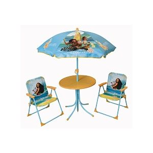 Jemini Vaiana Set de jardin (Table + 2 Chaises + 1 Parasol)