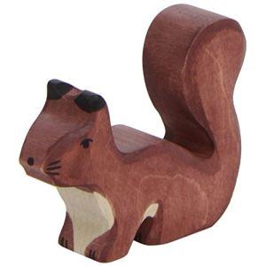 Holztiger Figurine Écureuil debout marron en bois