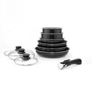 Arthur Martin Set de batterie de cuisine 10 pieces en aluminium 16/20/24/28 cm noir - Matériau : aluminium - Diamètre : 16/20/24/28 cm - Coloris : noir - Tous feux dont induction