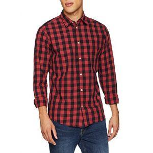 Jack & Jones Jjegingham Shirt L/s, Chemise Casual Homme, Multicolore (Brick Red Checks: Mixed Black), Large