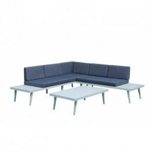 Delorm Design Salon de jardin 5 places aluminium blanc/Jean