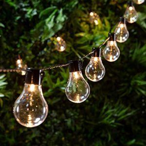 Lights4Fun Guirlande Lumineuse Guinguette avec 20 Boules LED Blanc Chaud pour Intérieur/Extérieur par