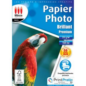 Image de Micro application 50 feuilles de papier photo Brillant 255g/m² (13 x 18 cm)