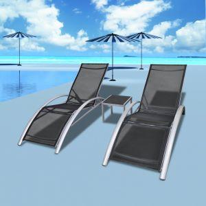 Image de VidaXL Jeu de 3 chaises longues en aluminium