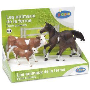 Papo Boîte présentoir avec 4 figurines : Vache et veau Simmental, jument et poulain anglo-arabes