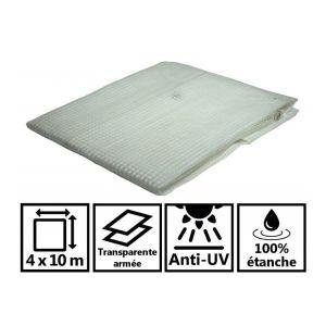 Toile de toit pour tonnelle et pergola 170g/m² transparente 4x10 m
