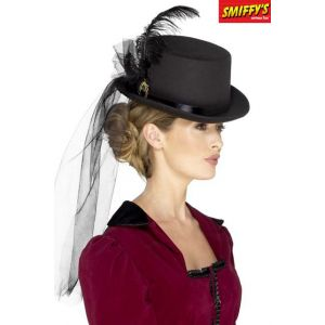 Smiffy's 48413 Deluxe pour femme Style victorien Chapeau haut-de-forme, Noir,