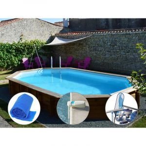 Sunbay Kit piscine bois Safran 6,37 x 4,12 x 1,33 m + Bâche à bulles + Alarme + Kit d'entretien