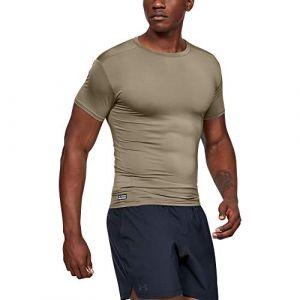 Under Armour T-shirt de compression à manches courtes Tactical HeatGear pour homme Brown - Taille SM