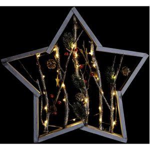 Féérie Lights&Christmas Etoile lumineuse Nature Noël - 40,5 x 5 x 39,5 cm - Marron