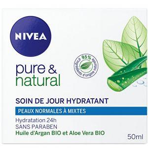Nivea Pure & Natural - Soin de jour hydratant pour peaux normales à mixtes