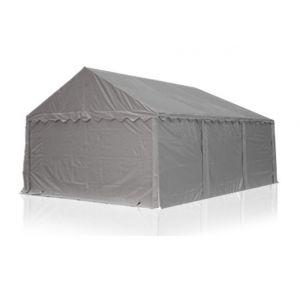 Intent24 Abri / Tente de stockage ECONOMY - 4 x 6 m en gris - toile PVC 500 g/m² imperméable