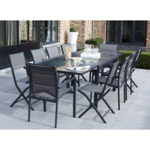 Alpina Garden Modulo 8 - Ensemble de jardin en aluminium avec 4 fauteuils et 4 chaises