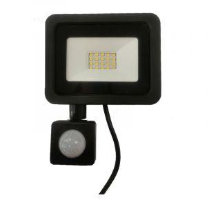 Silamp Projecteur LED Extérieur 20W IP65 NOIR avec Détecteur de Mouvement Crépusculaire - Blanc Neutre 4000K - 5500K