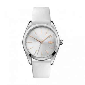 Lacoste Montre 2001099 - boitier acier rond cadran argenté bracelet cuir blanc Femme