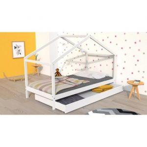 KOALA Lit cabane enfant avec tiroir Bois pin m if Blanc Sommier inlcus 90x190cm