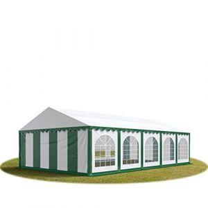 Intent24 Tente Barnum de Réception 5x10 m PREMIUM Bâches Amovibles PVC 500 g/m² vert-blanc + Cadre de Sol Jardin.FR