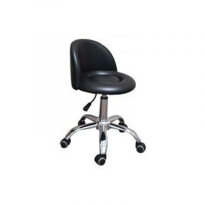 Eyepower Tabouret de Travail MST-412 chaise pivotante 360° réglable en hauteur siège rembourré avec roulettes dossier   poids supporté 120 kg   idéal pour coiffeur esthéticien cabinet médical   noir