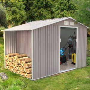 Concept-Usine Ventoux 8.72 m² : abri de jardin avec abri bûches en metal anti-corrosion gris