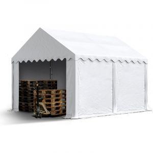 Intent24 TOOLPORT Tente de Stockage 3x4 m Hangar, bâches en PVC env. 550 g/m² 100% imperméable abri de pâturage avec Cadre de Sol, Blanc