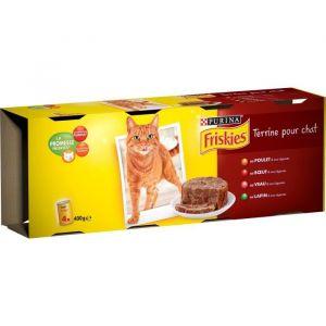 Friskies Terrine pour chats - 4 x 400g - saveurs : Au poulet, boeuf, veau et lapin - Au poulet, b?uf, veau et lapin