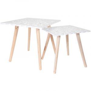 The home deco factory Tables gigognes plateau carré arabesques (Lot de 2)