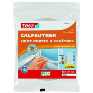 Tesa Bourrelet mousse polyuréthane 15 mm x 10 m blanc Joint, Bourrelet, Toile de verre