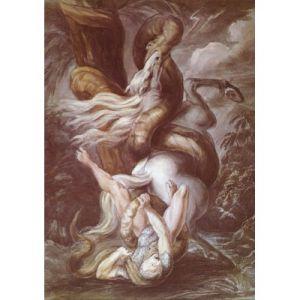 Grafika Henry Fuseli : Cavalier attaqué par un Serpent Géant, vers 1800 - Puzzle 1000 pièces