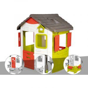 Smoby Cabane enfant Neo Jura Lodge + Porte maison + Récupérateur d'eau + Espace jardin