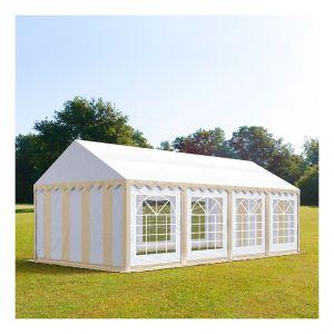 Intent24 Tente de réception 4 x 8 m PVC beige-blanc