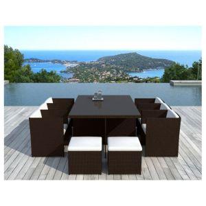 Delorm Design SD8220 - Table de jardin Cancùn en résine tressée avec chaises