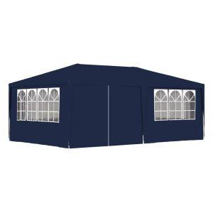 VidaXL Tente de réception avec parois latérales 4x6 m Bleu 90 g/m²
