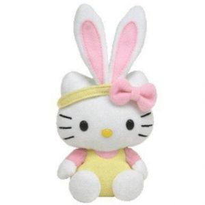Ty 35152 - Peluche - Hello Kitty - Basket Beanie Babies - Jaune - 13 Cm