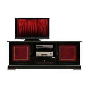 Arteferretto Banc tv laqué noir avec cuir bordeaux