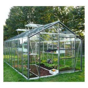ACD Serre de jardin en verre trempé Royal 38 - 18,24 m², Couleur Noir, Filet ombrage oui, Ouverture auto 2, Porte moustiquaire Non - longueur : 5m94