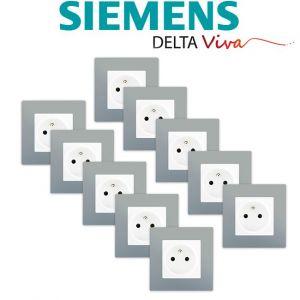 Siemens LOT 10 Prise 2P+T Blanc Delta Viva + Plaque Silver
