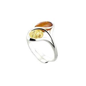 Carrement or BABA01020N - Bague pour femme en ambre bicolore et argent