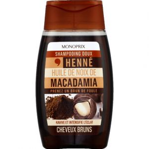 Monoprix Shampooing doux henné huile de noix macadamia cheveux bruns