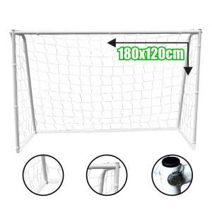 BUMBER But de Foot Deluxe L - 180 x 120 x 65 cm - Blanc - Cage de football en acier - Dimensions : 180 x 120 x 65 cm - Poids : 9 kg - Piquets de fixation