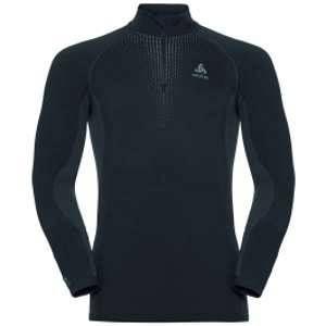 Odlo T-Shirt ML 1/2 Zip Performance Warm Black Concrete Grey Sous-vêtements techniques