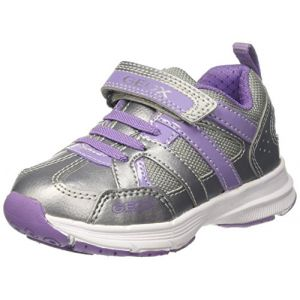 Geox J Top Fly A, Sneakers Basses Fille, Argent (Silver/Lilac), 34 EU